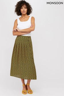 Monsoon Ladies Yellow Leonie Leopard Print Skirt