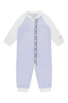 Baby Boys Pale Blue Cotton All-In-One