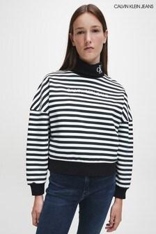 Calvin Klein Stripe Roll Neck Sweatshirt