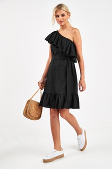 Linen Blend Frill One Shoulder Dress