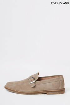 River Island Ecru Buckle Crepe Sole Loafers