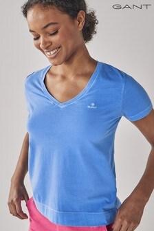 GANT Pacific Blue Sunfaded V-Neck T-Shirt