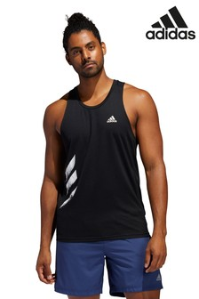 adidas Black Run It 3 Stripe Vest