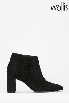 Wallis Black Ruffle Detail Point Ankle Boots