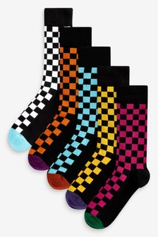 Socken im Schachbrettlook, 5er-Pack
