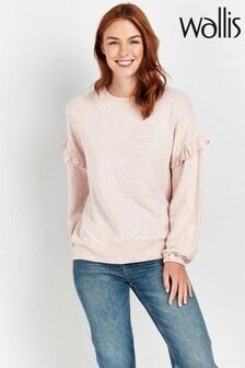 Wallis Pink Pearl Detail Frill Sleeve Jumper