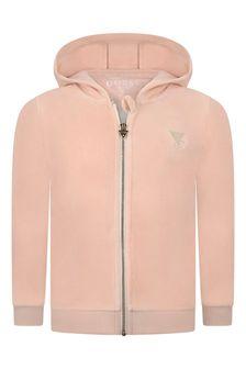 Guess Girls Pink Zip-Up Top