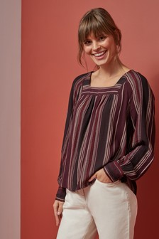 Square Neck Long Sleeve Blouse
