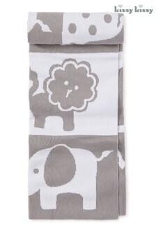 Kissy Kissy Grey Jungle Animal Blanket