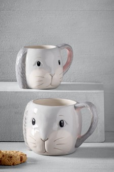 Set of 2 Bunny & Baby Bunny Mugs