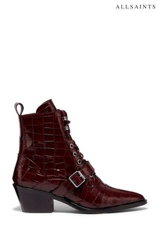AllSaints Red Katy Croco Ankle Shiny Croc Boots