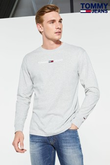 Tommy Jeans Grey Small Logo Long Sleeve T-Shirt