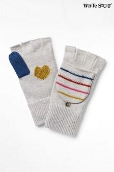 White Stuff Silver Heart & Stripe Flip Mitts