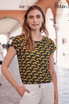Boden Blue Polly Silk T-Shirt