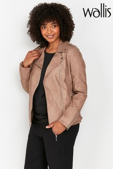 Wallis Stone Faux Leather Biker Jacket