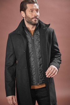 Italian Fabric Funnel Neck Coat