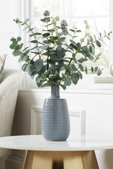 Artificial Eucalyptus Stems In Ceramic Vase
