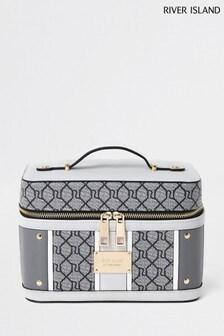 River Island Grey Monogram Vanity Case Handbag