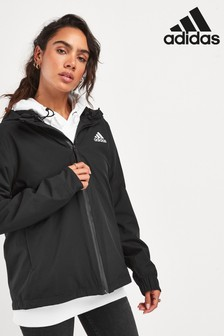 adidas Black 3 Stripe Rain Ready Jacket