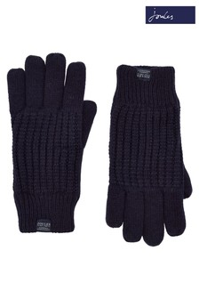 Joules Blue Bamburgh Cable Knit Gloves