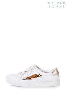 Oliver Bonas White Animal Lightning Bolt Trainers