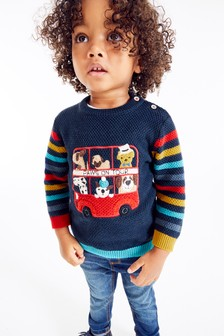 Rainbow Stripe Bus Jumper (3mths-7yrs)