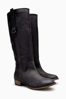 Leather Long Boots With Buckle Detail