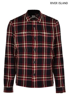 River Island Navy/Red Check Overshirt