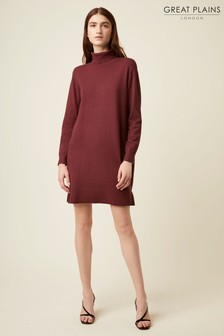Great Plains Cabernet Red Moselle Knit Roll Neck Dress