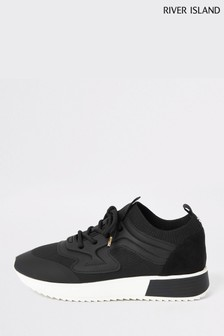 River Island Black Rubber Lace-Up Trainers