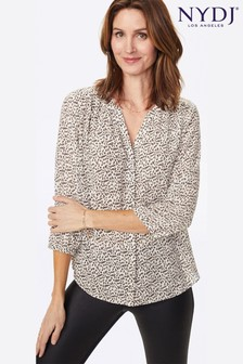 NYDJ Animal Soto Mare Print Pintuck Blouse