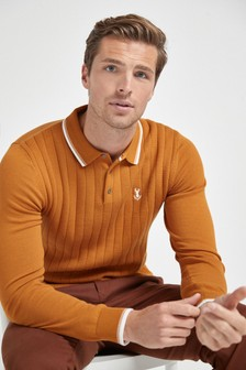 Vertical Stripe Textured Knitted Polo