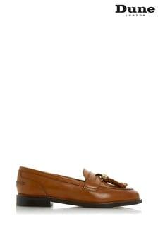 Dune London Glazer Tan Leather Tasseled Loafers