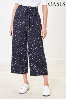 Oasis Blue Spot Crop Wide Leg Trousers