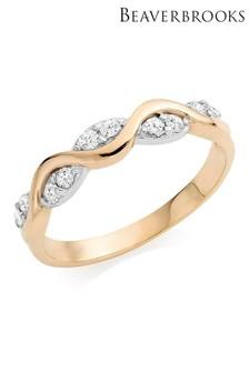 Beaverbrooks 9ct Gold Cubic Zirconia Twist Ring