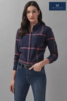 Crew Clothing Company Blue Windowpane Check Shirt
