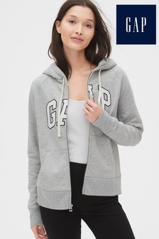 Gap Grey Logo Zip Through Hoody