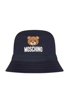 Moschino Kids Baby Boys Navy Cotton Unisex Hat
