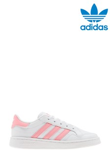 adidas Originals White/Pink Court Novice Junior Trainers