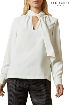 Ted Baker Ivory Tie Neck Blouse