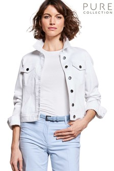 Pure Collection White Denim Jacket