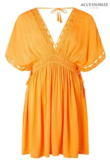 Accessorize Orange Geo Lace Kaftan
