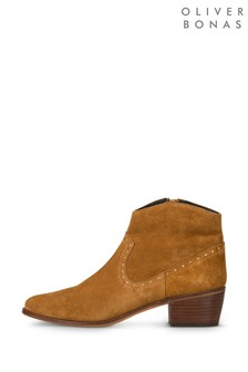 Oliver Bonas Brown Studded Suede Boots