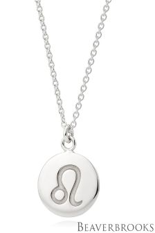 Beaverbrooks Silver Leo Disc Necklace