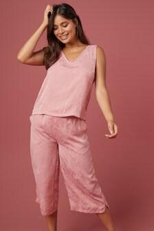 Жаккардовая пижама-кюлоты с цветочным принтом