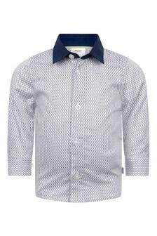 Baby Boys White Cotton Logo Print Shirt