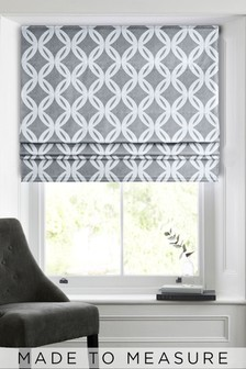 Manhattan Geo Grey Made To Measure Roman Blind