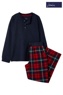 Joules Red Settledown Woven Mix Pyjama Set
