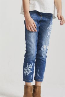 Floral Embroidery Skinny Jeans (3-16yrs)