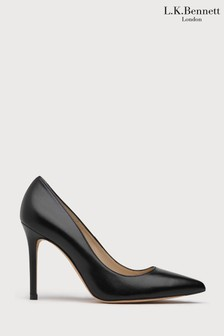L.K.Bennett Black Fern Leather Pointed Toe Courts